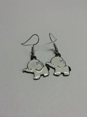 Boucles d'oreilles éléphant blanc
