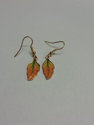 Boucles d'oreilles feuille orange