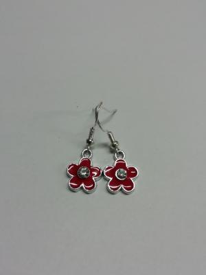 Boucles d'oreilles fleur rouge