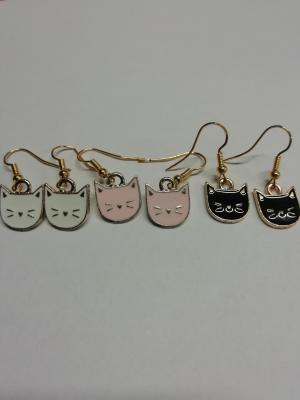 Boucles d'oreilles tête de chat